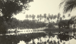 Burdwan - Distant view of the Rajbari across the Sulipukur Tank